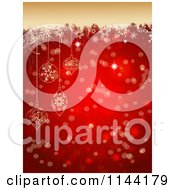 Clipart Of A Red Bokeh And Snowflake Christmas Background With Tan Grunge And Baubles Royalty Free Vector Illustration