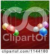 Clipart Of 3d Colorful Baubles And A Tree Branch Over Red Christmas Text Royalty Free Vector Illustration