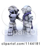 Clipart Of A 3d Christmas Robot Building A Snowman Royalty Free CGI Illustration