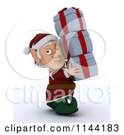 Clipart Of A 3d Christmas Elf Carrying A Stack Of Presents Royalty Free CGI Illustration