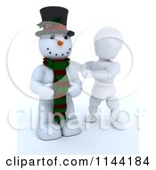 3d White Character Presenting A Snowman With A Top Hat And Scarf