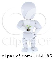 3d White Character Holding A Seedling Plant