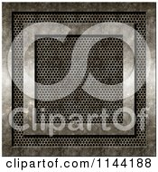 Clipart Of A 3d Grungy Metal Vent With Cement Framing Royalty Free CGI Illustration