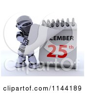 Clipart Of A 3d Robot Revealing A Christmas Date On A Calendar Royalty Free CGI Illustration by KJ Pargeter