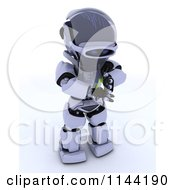Clipart Of A 3d Robot Holding A Seedling Plant Royalty Free CGI Illustration