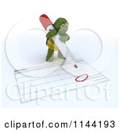 Clipart Of A 3d Tortoise Circling Christmas Day On A Calendar Royalty Free CGI Illustration by KJ Pargeter