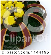 Clipart Of 3d Golden Christmas Baubles In The Center Of A Holly Wreath Royalty Free CGI Illustration by KJ Pargeter