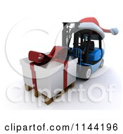 Clipart Of A 3d Silver Christmas Delivery Gift On A Blue Forklift Royalty Free CGI Illustration