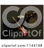 Clipart Of A 3d Electric Fender Guitar Leaning On An Amplifier Near A Set Of Drums Royalty Free CGI Illustration