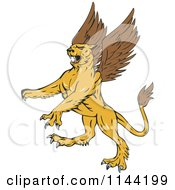 Clipart Of A Retro Aggressive Griffin Royalty Free Vector Illustration