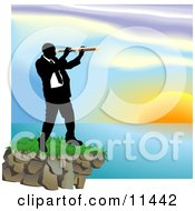 Businessman Looking Through A Telescope Across A Waterscape Clipart Illustration