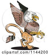 Clipart Of A Retro Eagle Griffin Royalty Free Vector Illustration