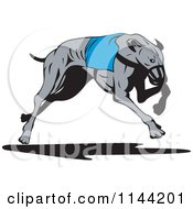 Clipart Of A Retro Running Greyhound Dog 3 Royalty Free Vector Illustration