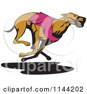 Clipart Of A Retro Running Greyhound Dog 4 Royalty Free Vector Illustration