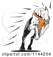 Clipart Of A Retro Running Greyhound Dog 2 Royalty Free Vector Illustration