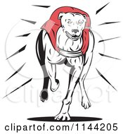 Clipart Of A Retro Running Greyhound Dog 1 Royalty Free Vector Illustration by patrimonio