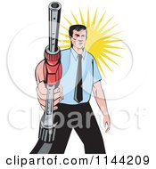 Clipart Of A Retro Man Holding A Gas Station Pump Nozzle Royalty Free Vector Illustration by patrimonio