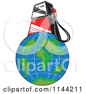 Clipart Of A Retro Gas Station Pump On Earth Royalty Free Vector Illustration by patrimonio