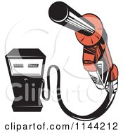 Clipart Of A Retro Gas Station Pump And Nozzle Royalty Free Vector Illustration