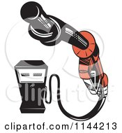 Clipart Of A Retro Gas Station Pump And Knotted Nozzle Royalty Free Vector Illustration by patrimonio