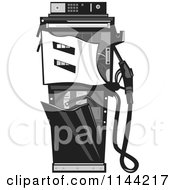 Clipart Of A Grayscale Retro Smashed Gas Station Pump Royalty Free Vector Illustration