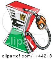 Clipart Of A Retro Gas Station Pump 1 Royalty Free Vector Illustration by patrimonio
