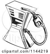 Clipart Of A Black And White Retro Gas Station Pump Royalty Free Vector Illustration