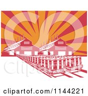 Poster, Art Print Of Retro Oil Factory Plant Building Against Rays