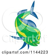 Clipart Of A Retro Mahi Mahi Dolphin Fish Swimming 1 Royalty Free Vector Illustration