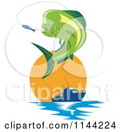 Clipart Of A Retro Mahi Mahi Dolphin Fish Jumping To Bite A Lure With A Boat At Sunset Royalty Free Vector Illustration by patrimonio