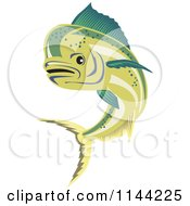 Clipart Of A Retro Mahi Mahi Dolphin Fish Swimming 2 Royalty Free Vector Illustration by patrimonio