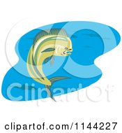 Clipart Of A Retro Mahi Mahi Dolphin Fish Swimming 3 Royalty Free Vector Illustration by patrimonio