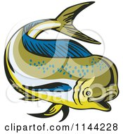 Clipart Of A Retro Mahi Mahi Dolphin Fish Swimming 4 Royalty Free Vector Illustration by patrimonio