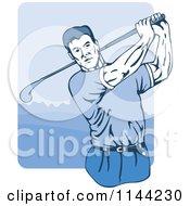 Clipart Of A Retro Golfing Man Swinging 1 Royalty Free Vector Illustration