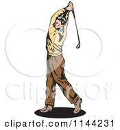 Clipart Of A Retro Golfing Man Swinging 2 Royalty Free Vector Illustration