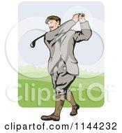 Clipart Of A Retro Golfing Man Swinging 4 Royalty Free Vector Illustration