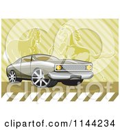 Clipart Of A Retro Ford Fairmont Muscle Car Over Horses Royalty Free Vector Illustration