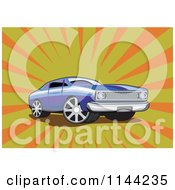 Clipart Of A Retro Blue Ford Fairmont Muscle Car Over Rays Royalty Free Vector Illustration