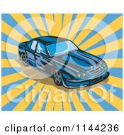 Clipart Of A Blue Ford GT V8 Sports Car Royalty Free Vector Illustration