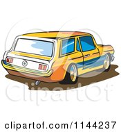 Clipart Of A Retro Ford Mustang Station Wagon Car Royalty Free Vector Illustration