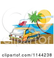 Clipart Of A Retro Ford Mustang Station Wagon Car On A Beach Royalty Free Vector Illustration