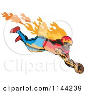 Clipart Of A Retro Flaming Touchdown Football Player Royalty Free Vector Illustration