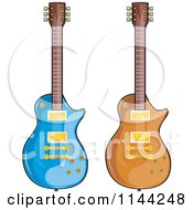Blue And Brown Electric Guitars