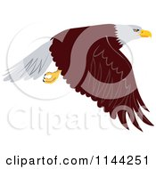 Clipart Of A Bald Eagle Flying 1 Royalty Free Vector Illustration