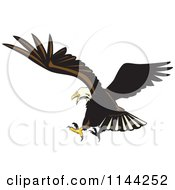 Clipart Of A Bald Eagle Flying 3 Royalty Free Vector Illustration