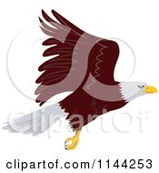 Clipart Of A Bald Eagle Flying 2 Royalty Free Vector Illustration