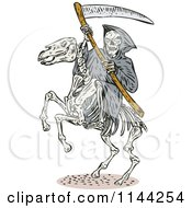 Clipart Of A Skeleton Grim Reaper With A Scythe On A Horse Royalty Free Vector Illustration by patrimonio