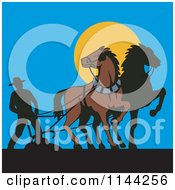 Clipart Of A Silhouetted Farmer And Horses Ploughing Royalty Free Vector Illustration