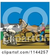 Clipart Of A Retro Farmer And Horse Harvesting Hay Royalty Free Vector Illustration