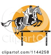 Clipart Of A Retro Equestrian On A Leaping Horse Over An Orange Circle 2 Royalty Free Vector Illustration